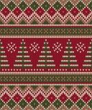 Σχέδιο πουλόβερ Χριστουγέννων πλέκοντας πρότυπο άνευ ρα&p Χειμώνας Holi Στοκ Εικόνες