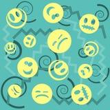 Σχέδιο προσώπου χαμόγελου με τα ζωηρόχρωμα smileys για το υπόβαθρο κλωστοϋφαντουργικών προϊόντων Υπόβαθρο εικονιδίων χαμόγελων Δι απεικόνιση αποθεμάτων