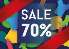 Σχέδιο προτύπων εμβλημάτων πώλησης εβδομήντα τοις εκατό Στοκ Εικόνα