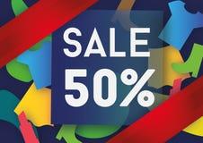 Σχέδιο προτύπων εμβλημάτων πώλησης πενήντα τοις εκατό Στοκ φωτογραφία με δικαίωμα ελεύθερης χρήσης
