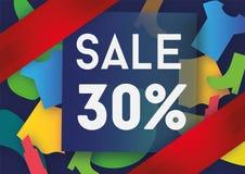 Σχέδιο προτύπων εμβλημάτων πώλησης τριάντα τοις εκατό Στοκ Εικόνες