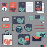 Σχέδιο προτύπων χαρτικών με τα πορτοκαλιά και μπλε στοιχεία διακοσμήσεων Στοκ Εικόνα