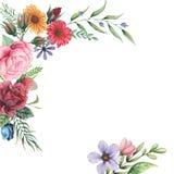 Σχέδιο πρόσκλησης Watercolor με την ανθοδέσμη των λουλουδιών Το χέρι χρωμάτισε τις floral συνθέσεις που απομονώθηκαν στο άσπρο υπ διανυσματική απεικόνιση