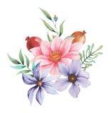 Σχέδιο πρόσκλησης Watercolor με την ανθοδέσμη των λουλουδιών, χρωματισμένες χέρι floral συνθέσεις που απομονώνονται στο άσπρο υπό Στοκ εικόνα με δικαίωμα ελεύθερης χρήσης
