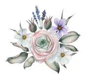 Σχέδιο πρόσκλησης Watercolor με την ανθοδέσμη των λουλουδιών, χρωματισμένες χέρι floral συνθέσεις που απομονώνονται στο άσπρο υπό Στοκ Φωτογραφίες