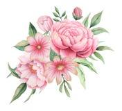 Σχέδιο πρόσκλησης Watercolor με την ανθοδέσμη των λουλουδιών, χρωματισμένες χέρι floral συνθέσεις που απομονώνονται στο άσπρο υπό απεικόνιση αποθεμάτων