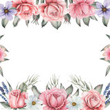 Σχέδιο πρόσκλησης Watercolor με την ανθοδέσμη των λουλουδιών, χρωματισμένες χέρι floral συνθέσεις που απομονώνονται στο άσπρο υπό Στοκ Φωτογραφία