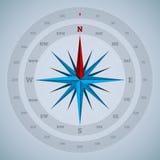 σχέδιο πυξίδων 16 σημείου με τους βαθμούς Στοκ Εικόνες