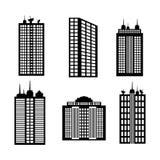 Σχέδιο πόλεων εικονίδιο οικοδόμησης Γραπτή απεικόνιση, διάνυσμα Στοκ Εικόνα