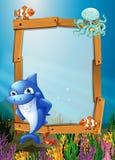 Σχέδιο πλαισίων με τα ψάρια υποβρύχια Στοκ Εικόνα