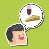 Σχέδιο σάντουιτς τρόφιμα έννοιας υγιή Εικονίδιο επιλογών απεικόνιση αποθεμάτων