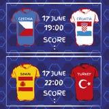 Σχέδιο, σημαίες, ημερομηνία και χρόνος για το πρωτάθλημα ποδοσφαίρου ν Στοκ Εικόνες