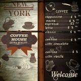 Σχέδιο σπιτιών καφέδων ή καφέ στην ξύλινη σύσταση Στοκ Φωτογραφίες