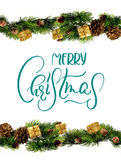 Σχέδιο συνόρων διακοσμήσεων με τη Χαρούμενα Χριστούγεννα κειμένων Καλλιγραφία και εγγραφή Στοκ εικόνα με δικαίωμα ελεύθερης χρήσης