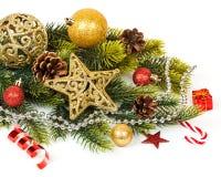 Σχέδιο συνόρων διακοσμήσεων Χριστουγέννων που απομονώνεται επάνω Στοκ Εικόνα