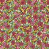 Σχέδιο ταπετσαριών με τα hand-drawn λουλούδια Στοκ φωτογραφία με δικαίωμα ελεύθερης χρήσης
