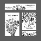 Σχέδιο ταυτότητας Doodle με συρμένη τη χέρι διακόσμηση λουλουδιών Στοκ φωτογραφία με δικαίωμα ελεύθερης χρήσης