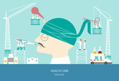 Σχέδιο της έννοιας υγειονομικής περίθαλψης, επικεφαλής επίδεσμος, απεικόνιση Στοκ Φωτογραφίες