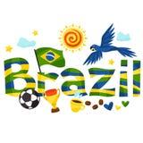 Σχέδιο της Βραζιλίας με τα αντικείμενα στο άσπρο υπόβαθρο απεικόνιση αποθεμάτων