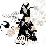 Σχέδιο της γαμήλιας πρόσκλησης με τη θηλυκή σκιαγραφία Στοκ Εικόνες