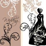 Σχέδιο της γαμήλιας πρόσκλησης με τη θηλυκή σκιαγραφία Στοκ εικόνα με δικαίωμα ελεύθερης χρήσης