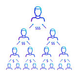 Σχέδιο της εργασίας της οικονομικής πυραμίδας Πρόγραμμα παραπομπής Στοκ φωτογραφία με δικαίωμα ελεύθερης χρήσης
