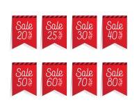 Σχέδιο τοις εκατό κορδελλών 20-80 πώλησης ετικεττών για το έμβλημα ή την αφίσα Πώληση Στοκ εικόνες με δικαίωμα ελεύθερης χρήσης