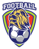 Σχέδιο του αθλητικού διακριτικού για την ομάδα με το λιοντάρι και τη σφαίρα Στοκ φωτογραφία με δικαίωμα ελεύθερης χρήσης