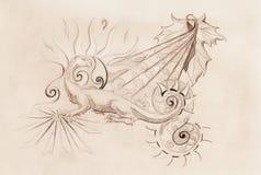 Σχέδιο του διακοσμητικών δράκου και του ήλιου με το φύλλο κρασιού στο παλαιό υπόβαθρο εγγράφου Στοκ Εικόνα