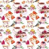 Σχέδιο τσαγιού - λουλούδια, φλυτζάνα τσαγιού, κέικ, πουλί Watercolor τροφίμων Άνευ ραφής ανασκόπηση Στοκ φωτογραφία με δικαίωμα ελεύθερης χρήσης