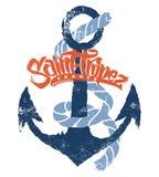 Σχέδιο τυπωμένων υλών μπλουζών Άγιος-Tropez Στοκ Εικόνα