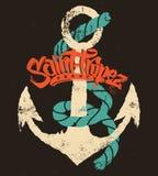 Σχέδιο τυπωμένων υλών μπλουζών Άγιος-Tropez Στοκ εικόνα με δικαίωμα ελεύθερης χρήσης