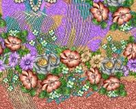 Σχέδιο τυπωμένων υλών υποβάθρου με το λουλούδι Στοκ Εικόνες