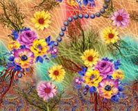 Σχέδιο τυπωμένων υλών υποβάθρου με το λουλούδι Στοκ Εικόνα