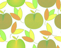 Σχέδιο των αφηρημένων μήλων και των ζωηρόχρωμων φύλλων διανυσματική απεικόνιση