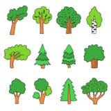 Σχέδιο των διαφορετικών χρωματισμένων δέντρων Στοκ φωτογραφία με δικαίωμα ελεύθερης χρήσης