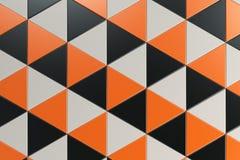 Σχέδιο των μαύρων, άσπρων και πορτοκαλιών πρισμάτων τριγώνων Στοκ φωτογραφία με δικαίωμα ελεύθερης χρήσης