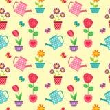 Σχέδιο των λουλουδιών στα δοχεία και τα δοχεία ποτίσματος Στοκ φωτογραφία με δικαίωμα ελεύθερης χρήσης