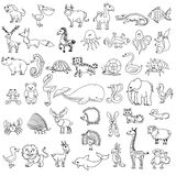 Σχέδιο των παιδιών ζώων Doodle Στοκ Εικόνα
