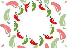 Σχέδιο των πικάντικων τσίλι κόκκινων και πράσινων Στοκ Εικόνες