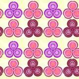 Σχέδιο των ρόδινων λουλουδιών στους κίτρινους κύκλους απεικόνιση αποθεμάτων