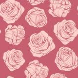 Σχέδιο των ρόδινων τριαντάφυλλων λουλουδιών απεικόνιση αποθεμάτων