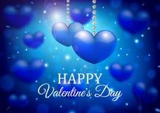 Σχέδιο υποβάθρου ημέρας βαλεντίνων Μπλε καρδιά σε ένα θολωμένο υπόβαθρο Στοκ φωτογραφία με δικαίωμα ελεύθερης χρήσης