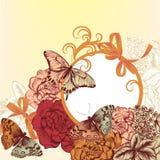 Σχέδιο υποβάθρου μόδας με τα λουλούδια στο εκλεκτής ποιότητας ύφος Στοκ φωτογραφία με δικαίωμα ελεύθερης χρήσης