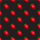 Σχέδιο φραουλών σε ένα μαύρο υπόβαθρο Στοκ Εικόνες