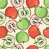 Σχέδιο φρούτων ανασκόπηση μήλων άνευ ραφής Στοκ Εικόνα
