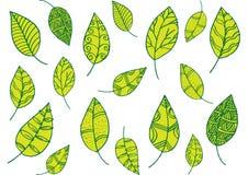 Σχέδιο φύλλων στο ύφος doodle Στοκ Φωτογραφίες