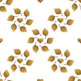 Σχέδιο φύλλων Το χρυσό χέρι χρωμάτισε το άνευ ραφής υπόβαθρο Αφηρημένη χρυσή απεικόνιση φύλλων Στοκ Εικόνα