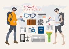 Σχέδιο χαρακτήρα για τον τουρισμό και ένα εικονίδιο που είναι σημαντικό Απεικόνιση αποθεμάτων
