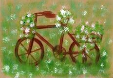 Σχέδιο χεριών ενός παλαιού ποδηλάτου Σκουριασμένος, με τη χλόη Απεικόνιση αποθεμάτων